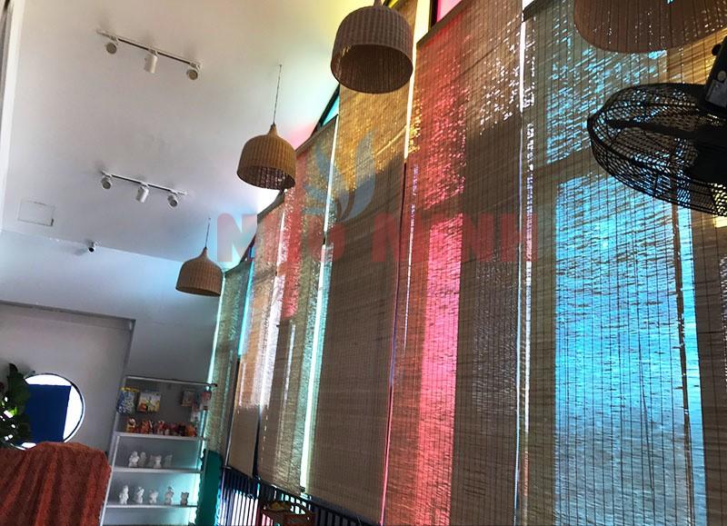 Công trình rèm trúc cật lắp tại quán cà phê New Zone