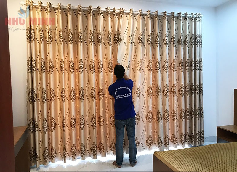 Rèm vải hoa văn tân cổ điển tại Đà Nẵng - Mã HT83